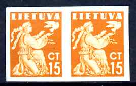 Lithuania 1940 Liberty Issue 15c orange in superb unmounted mint imperf pair, as SG 441
