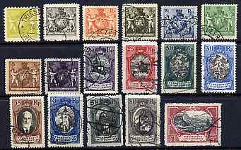 Liechtenstein 1921-24 Swiss Currency set of 17 fine cds used, SG 47-62 & 66, cat \A3160++