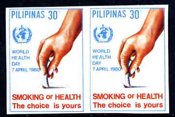 Philippines 1980 World Health Day 30s Anti-Smoking imperf pair unmounted mint as SG 1585