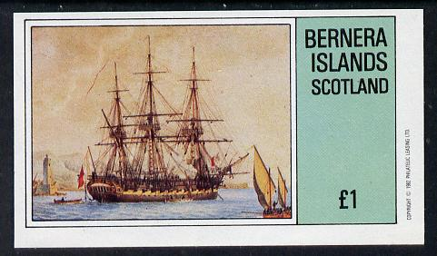 Bernera 1982 Paintings of Tall Ships (HMS Victory) imperf souvenir sheet (�1 value) unmounted mint
