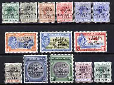 Bahamas 1942 KG6 Landfall of Columbus opt set complete 1/2d to \A31 mounted mint, SG 162-75a