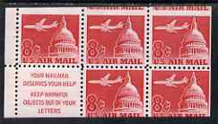 Booklet - United States 1962 Douglas DC-8 booklet pane of 5 plus label, miscut showing portions of 7 stamps, 2 stamps lightly mounted, as SG A1210a
