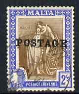 Malta 1926 Postage overprint on 2s brown & blue very fine cds used SG153