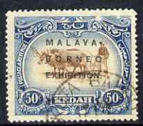 Malaya - Kedah 1922 Malay-Borneo Exhibition opt on 50c showing Broken R in Borneo, unlisted by SG but known to specialists, fine used as SG51 (cat \A3170 as normal)