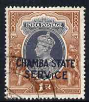 Indian States - Chamba 1938 KG6 Official 1r with a probable fake cancellation, as SG O68 cat \A3800 as genuine used