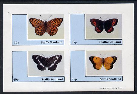 Staffa 1981 Butterflies imperf  set of 4 values (10p to 75p unmounted mint)