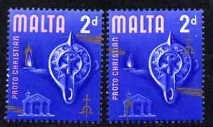 Malta 1965-70 Historical def 2d with gold shifted downwards by 14 mm plus normal unmounted mint, SG 333a