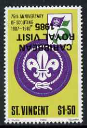 St Vincent 1985 Caribbean Royal Visit on $1.50 Scout Anniversary with overprint inverted, unmounted mint as SG 936