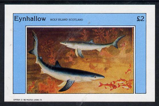 Eynhallow 1982 Sharks imperf deluxe sheet (�2 value) unmounted mint