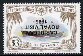 St Vincent - Grenadines 1985 Caribbean Royal Visit on $3.00 Royal Yacht Britannia with overprint inverted, unmounted mint as SG 426