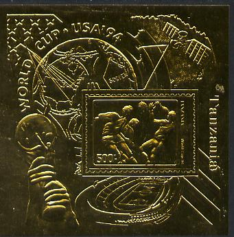 Tanzania 1994 Football World Cup m/sheet embossed in gold foil unmounted mint, as SG MS 1899, Mi BL 249