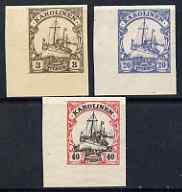 Caroline Islands 1901 Yacht Type set of 3 imperf Forgeries unused (3pf, 20pf & 40pf, latter without gum)