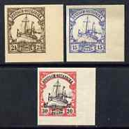 East Africa 1905 Yacht Type set of 3 imperf Forgeries unused (2.5h, 15h & 30h, latter without gum)