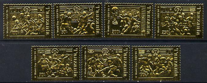 Tanzania 1994 Football World Cup set of 7 (horiz) embossed in gold foil unmounted mint, as SG 1892-98