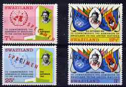 Swaziland 1968 Admission to United Nations perf set of 4 overprinted SPECIMEN, unmounted mint from a limited printing