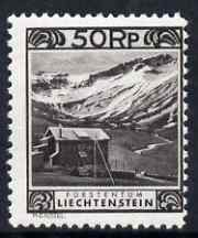 Liechtenstein 1930 Kurhaus at Malbun 50r black, the scarce P11.5 x 10.5  unmounted mint SG 104C cat \A3250