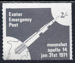 Great Britain 1971 Exeter Emergency Post 2s label depicting Apollo 14 Moonshot (sheetlet of 6 pro-rata) unmounted mint