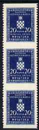 Croatia 1942-43 Official 20k dark blue vertical strip of 3 with horizontal perfs omitted, top stamp mounted mint SG O68var