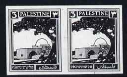 Palestine 1927 Rachel's Tomb 3m imperf proof pair in grey-black on semi-glazed paper unmounted mint, as SG91