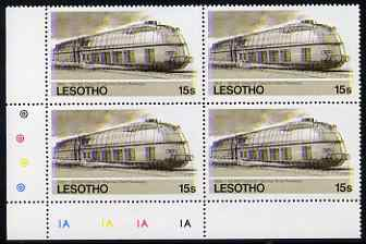 Lesotho 1984 Railways of the World 15s German Class 05 Streamlined loco with superb shift of red and blue, corner plate block of 4 showing colours & check dots misplaced,...