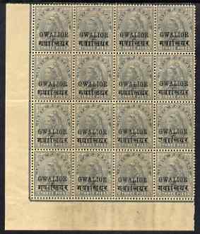 Indian States - Gwalior 1899 QV 3p grey block of 16 incl TALL 2 variety on R20/2, overall toning but unmounted mint and a scarce positional block, SG 39/e cat \A3365