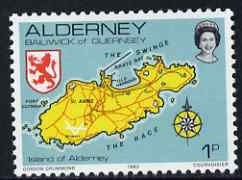 Guernsey - Alderney 1983-93 Map of Island 1p unmounted mint SG A1