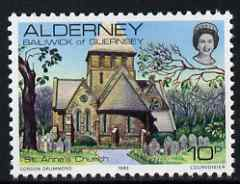 Guernsey - Alderney 1983-93 St Anne's Church 10p unmounted mint SG A4