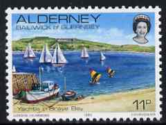 Guernsey - Alderney 1983-93 Yachts in Braye Bay 11p unmounted mint SG A5, stamps on tourism, stamps on yachts, stamps on ships