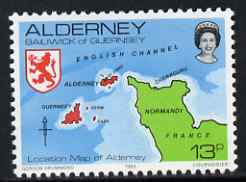 Guernsey - Alderney 1983-93 Map of Channel 13p unmounted mint SG A7