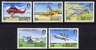 Guernsey - Alderney 1985 50th Anniversary of Airport perf set of 5 unmounted mint SG A18-22