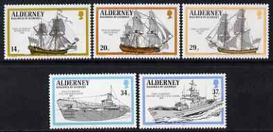 Guernsey - Alderney 1990 Royal Navy Ships perf set of 5 unmounted mint SG A42-46