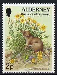 Guernsey - Alderney 1994-98 Flora & Fauna Defs 2p Shrew & Flowers unmounted mint SG A61