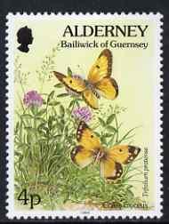 Guernsey - Alderney 1994-98 Flora & Fauna Defs 4p Clouded Yellow (butterfly) & clover unmounted mint SG A63