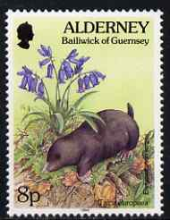 Guernsey - Alderney 1994-98 Flora & Fauna Defs 8p Mole & Bluebell unmounted mint SG A67, stamps on flowers, stamps on animals