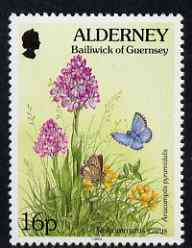 Guernsey - Alderney 1994-98 Flora & Fauna Defs 16p Common Blue (butterfly) & Orchid unmounted mint SG A70