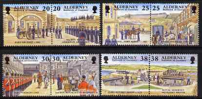 Guernsey - Alderney 1999 Garrison Island (3rd series) perf set of 8 (4 se-tenant pairs) unmounted mint, SG A132-39