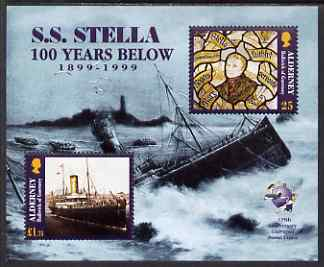 Guernsey - Alderney 1999 Centenary of Wreck of Mail Steamer Stella perf m/sheet unmounted mint, SG MS A124