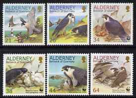 Guernsey - Alderney 2000 WWF - Peregrine Falcon perf set of 6 unmounted mint SG A140-45