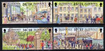Guernsey - Alderney 1998 Garrison Island (2nd series) perf set of 8 (4 se-tenant pairs) unmounted mint, SG A116-23
