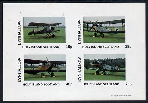 Eynhallow 1981 Bi-Planes #2 imperf  set of 4 values (10p to 75p) unmounted mint