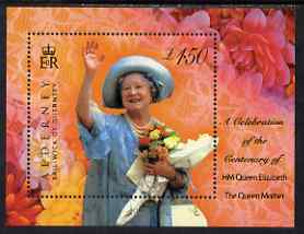 Guernsey - Alderney 2000 100th Birthday of HM The Queen Mother perf m/sheet unmounted mint, SG MS A153