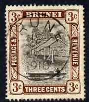 Brunei 1907-10 River Scene 3c grey-black & chocolate very fine cds used SG 25