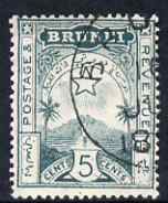 Brunei 1895 Star & Local Scene 5c deep blue-green cds used SG5