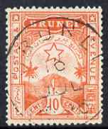 Brunei 1895 Star & Local Scene 10c orange-red cds used SG7