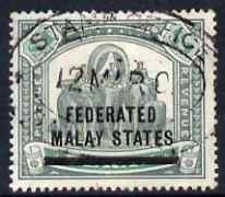 Malaya - Federated Malay States 1900 Opt on Perak $1 green & pale green with neat Stamp Office oval cancel, SG11