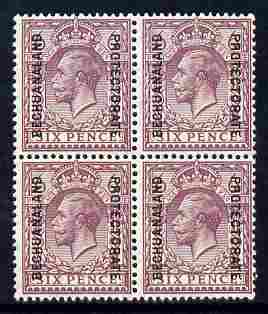 Bechuanaland 1925-27 KG5 overprint on Great Britain 6d block of 4 unmounted mint, SG 97