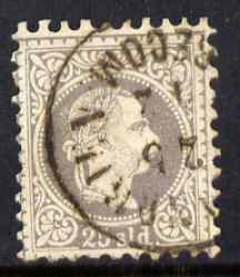 Austria-Hungarian Post Offices in Turkish Empire 1867 25s grey-lilac with slightly oily circular cancel fairly good perfs, a rare stamp cat \A3325
