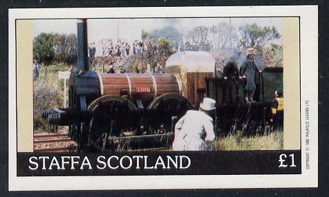 Staffa 1982 Early Steam Locos imperf souvenir sheet (�1 value) unmounted mint