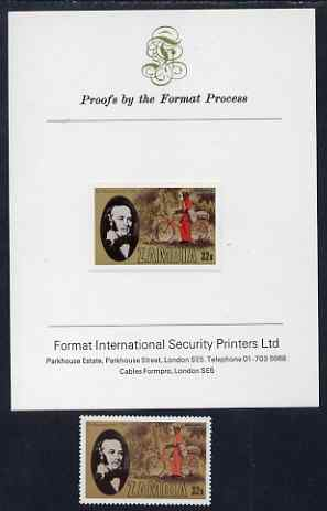 Zambia 1979 Rowland Hill 32n imperf proof mounted on Format International Proof card plus issued stamp, SG 297