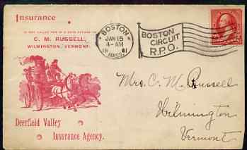 United States 1901 illustrated (horse-drawn fire engine) cover to Vermont bearing 2c stamp (slightly damaged top right corner)